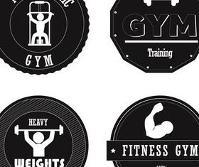 Stylish Gym Labels Illustration vector