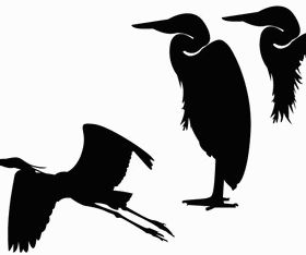Heron Silhouette Clip Art vectors