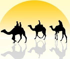 Camel Caravan Silhouette with Sunset vectors