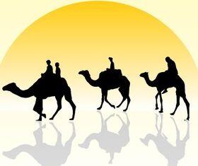 Camel Caravan Silhouette with Sunset vectors