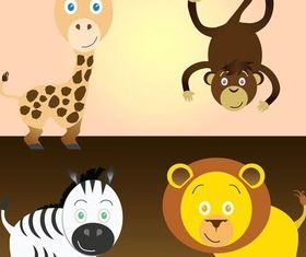 Free Cartoon Safari Animals Art vectors material