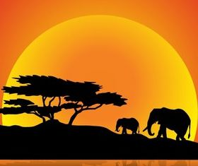 Elephants Family on Nature Walk vector