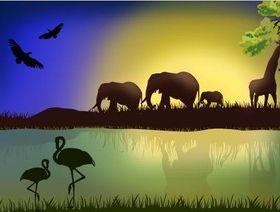 African Savannah Landscape vector