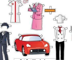 Cut-Out Wardrobe Chef Nurse Teacher Driver vectors graphic