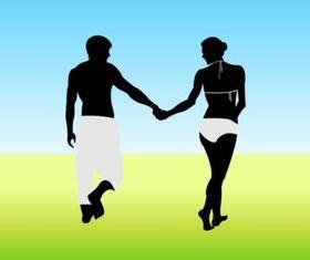 Couple Walking shiny vector