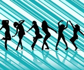 Dancing Women Vector Silhouettes Illustration vector