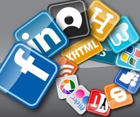 Web Buttons Social Media design vector