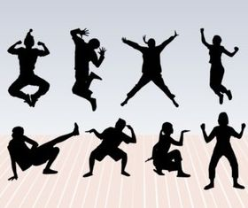 Dance Pose Silhouettes shiny vector
