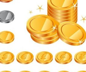 Coins with Currency Signs design vector