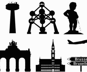 Brussels in Silhouettes free vector