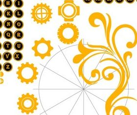 Alphabet Letters and Numbers with Gear Wheel Illustration vector