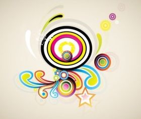 Colorful Retro Swirls background vectors graphics