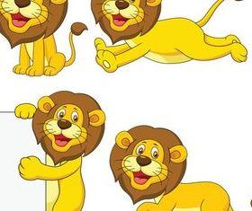 Cute Cartoon Lions art set vector