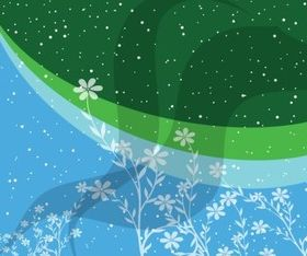 Blue Green Flowers Background vector