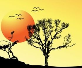 Tree Sunset Background creative vector