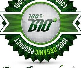 Green Bio Labels vector set