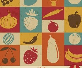 Food Retro Backgrounds art vector set