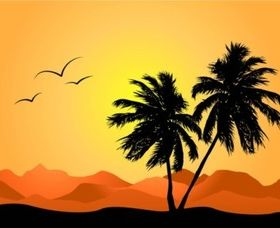 Tropical Landscape vector design