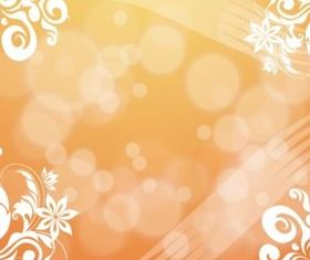 Orange Flowers Bubbles Background vector