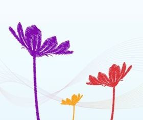 Sketchy Flowers design vectors