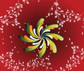 Red Floral Spiral Background vector