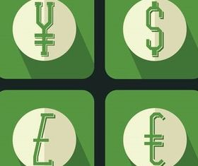 Money Flat Icons vectors material