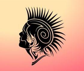 Mohawk Girl Design vector