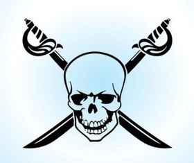 Skull Crossed Swords vector graphics