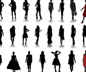 Silhouettes Girls 2 Illustration vector