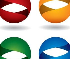 Spherical Color Logotypes art vector set