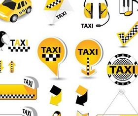 Shiny Taxi Symbols vectors graphics
