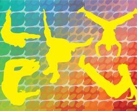 Acrobatic Silhouettes vectors graphics