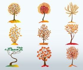 Autumn Tree Bundle set vector