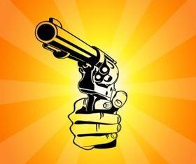Pointing Gun set vector