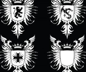 Stylish Heraldic Signs 2 set vector