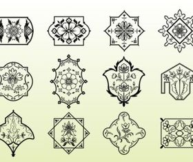 Floral Emblems set vector