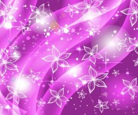 Purple Flowers Stars Background vectors graphics