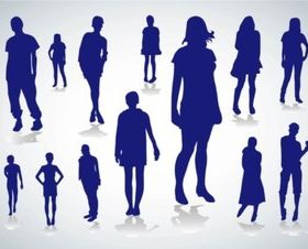 People Silhouettes design vectors