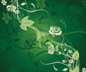 Green Flower Tile background vector