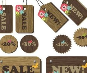 Wooden Sale Stickers free vector