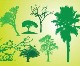 Tree Bush Silhouettes vector design
