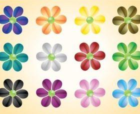 Colorful Flowers Vectors design