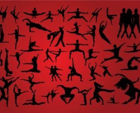People Dancing Silhouettes vectors