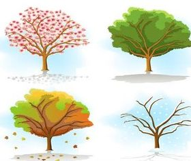 Season Trees free vector