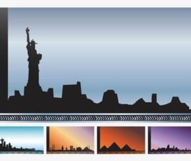 Cityscapes Cards set vector