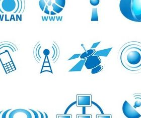 Mobile Blue Icons art vector
