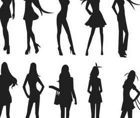 Women Silhouettes art vectors material