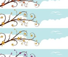Sky Banners background vector material