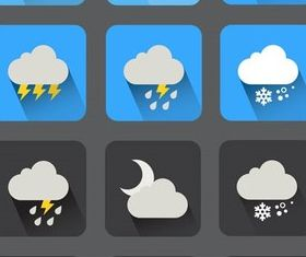 Flat Weather Icons 2 vector