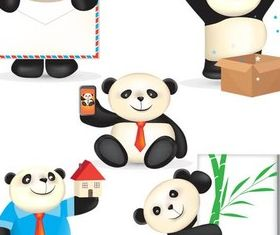 Funny Pandas free vector graphic
